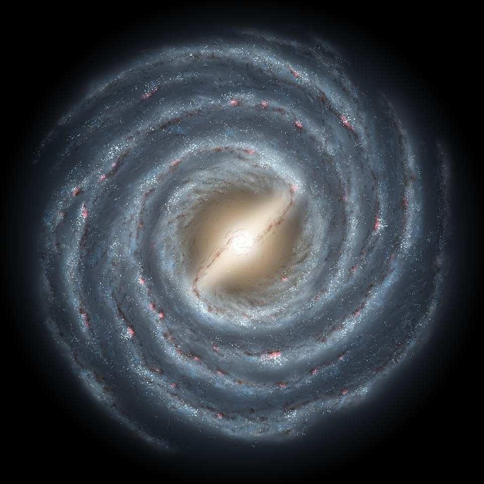 This artist's rendering shows a view of our own Milky Way Galaxy and its central bar as it might appear if viewed from above.